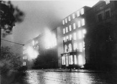 Buildings on fire in Hamburg following the RAF Bomber Command raids in July 1943.