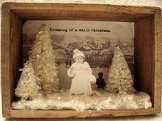 vintage style, upcycled, Christmas shadowbox