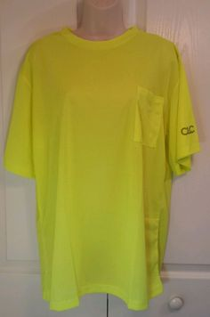 CLC HVG High Visibility Yellow T-Shirt L Work Tee w/pocket ANSI/ISEA Dry-Wick…