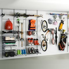 Want an organized garage? Go vertical! Whether it's an elfa system or a peg board system, you can get everything up and off of you garage floor, have all like items together, and hang everyt… Elfa Shelving, Storage Shelves, Storage Spaces, Wall Shelving, Shelving Systems, Bike Storage, Garage Wall Storage, Garage Walls, Diy Garage