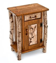 Our lodge side table is handcrafted the way furniture was made hundreds of years ago. Real birch bark logs are reclaimed with their bark intact. Weathered barn wood is salvaged. The two are combined to create a very unique rustic end Rustic Outdoor Furniture, Twig Furniture, Natural Wood Furniture, Cabin Furniture, Unique Furniture, Furniture Ideas, Western Furniture, Furniture Outlet, Furniture Design