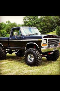 older Ford truck black mud tires