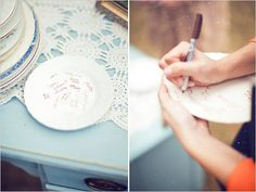Awesome plate guest book idea!
