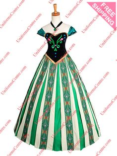 Disney Frozen Anna Green Dress Cosplay Costume