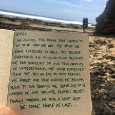 Journal, My journal entry after our guided meditation, taking a solo walk down to Playa Maderas