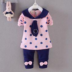 BibiCola-Spring-Girls-clothes-Baby-Girl-Clothing-Set-Children-Bow-Dot-Suit-2PCS-Kids-Top-T (2)