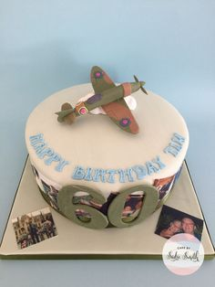 Our spitfire cake is the perfect cake design for any gentleman who loves vintage planes. From Cake by Sadie Smith, Wimborne, Poole & Dorset. Planes Birthday Cake, Planes Cake, 70th Birthday Cake, Airplane Cakes, Suitcase Cake, Fab Cakes, Salty Cake, Savoury Cake, Celebration Cakes
