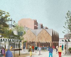 Havering Council has approved this new timber-framed building designed by London-based practice DK-CM as part of the ongoing regeneration of Romford's historic market place Landscape Architecture Drawing, Architecture Visualization, Architecture Plan, Victorian Architecture, Photoshop, Planer, House, Thesis, Cm News