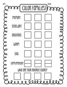 Lesson Theory Color Family Portraits Art Worksheet - Only give out the 3 primary crayons/colored pencils Classe D'art, Art Handouts, 6th Grade Art, Art Worksheets, Art Curriculum, School Art Projects, Middle School Art, Art Lessons Elementary, Elements Of Art