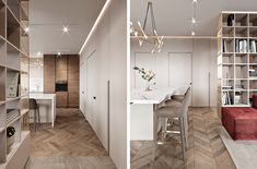 Interior design of apartment. Modern apartment with classic elements. In soft, light colors.
