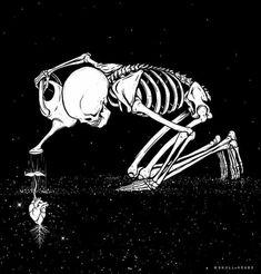Flowering anatomical heart drawing design of skeleton gardener drawing illustration Skeleton Art, Skeleton Love, Skeleton Drawings, Skull Drawings, Dark Art Drawings, Art Design, Skull Art, Macabre, Phone Backgrounds