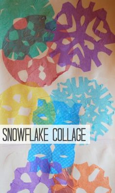 Snowflake collage activity for kids, a meaningful process-oriented art project to do with the kids this winter. Kids Crafts, Winter Crafts For Kids, Winter Kids, Art For Kids, Kids Fun, Holiday Activities For Kids, Craft Activities, Infant Activities, Winter Art Projects