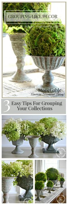 GROUPING LIKE DECOR Ideas and tips for beautiful ways to group like objects!
