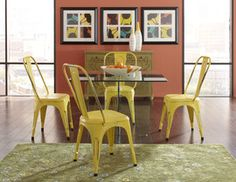 Glass on Glass dining room with rock chairs