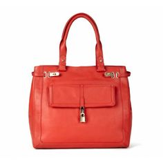 Looks like it would be a great work bag - fit a laptop and files without needing a second bag. Faye PADLOCK LEATHER SHOPPER COLOR: Poppy