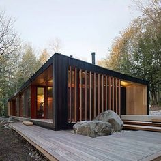 Plans To Design And Build A Container Home - Container House - Clear Lake Cottage by MJMA. - Who Else Wants Simple Step-By-Step Plans To Design And Build A Container Home From Scratch? Architecture Design, Residential Architecture, Sustainable Architecture, Chalet Design, Cabin Design, Cottage Design, Building A Container Home, Container Homes, Container Cabin