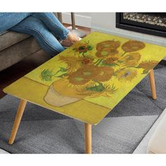 Sun Flowers, Diy Garden Decor, Van Gogh, Craft Projects, Old Things, Photoshop, Coffee, Wood, Tabletop