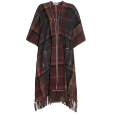 Etro Wool Blanket Coat (5.750 BRL) ❤ liked on Polyvore featuring outerwear, coats, jackets, etro, brown, brown wool coat, brown coat, woolen coat and checked coat