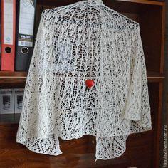 Купить Шаль Летнее кружево - белый, однотонный, молочно-белый, молочное кружево, ажурная шаль