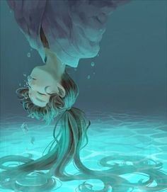 anime, drawing, girl, manga, painting, sad, underwater, water