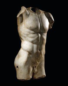 A ROMAN MARBLE TORSO OF AN ATHLETE CIRCA 1ST-2ND CENTURY A.D. Collection Yves Saint Laurent et Pierre Bergé; Christie's, Paris.http://hadrian6.tumblr.com