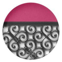 Retro Hot Pink & Black Abstract Art Plates