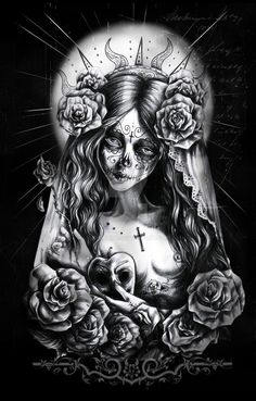 Discover Santa Muerte 2 T-Shirt from Tattoo Hall, a custom product made just for you by Teespring. Chicano Drawings, Chicano Art, Tattoo Drawings, Chicano Love, Arte Zombie, Zombie Art, Calaveras Mexicanas Tattoo, Day Of The Dead Tattoo Sleeve, Arte Cholo