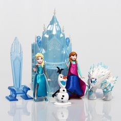 Набор Принцесса Эльза, Анна, снеговик, трон, замок 7-15 см, 6 шт.