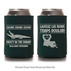 Chomp Chomp Chomp Party in the Swamp - Custom Koozie - Wedding Favor - Party Gift