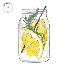 Good objects - Cooling down (refreshing drinks detox) Watercolor Food, Watercolor Paintings, Lemon Watercolor, Watercolour, Lemon Painting, Food Drawing, Drawing Ideas, Food Illustrations, Art Inspo