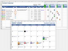 Download the Content Calendar Template from Vertex42.com Printable Yearly Calendar, Calendar Worksheets, Calendar Calendar, Document Tracking, Family Budget Planner, Gantt Chart Templates, List Template, Social Media Content, Earnings Calendar