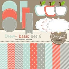 These Digital Papers and Label Cliparts Basic Set 18, Teacher Sellers Kit, Apple labels in pale blue, coral and gray colors are ideal for creating various art projects, classroom decors, teaching materials, digital scrapbooking, making invitations, other creative fun projects at school or home. ----------------------------------------------------------------------------- ~ 9 pcs.  12 x 12 inches digital background papers (.jpg ) (chevron, circles, strips)~ 12 labels - 4 designs in 3…