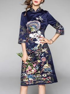 Navy Blue Floral-embroidered Stand Collar Vintage 3/4 Sleeve Midi Dress