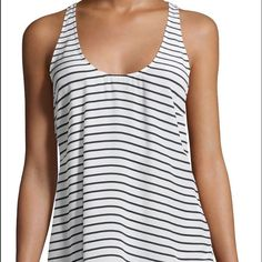 "NEW Joie Drew Silk Racerback Tank Joie ""Drew"" striped crepe tank. Scoop neckline. Sleeveless; racerback. Relaxed fit. Curved hem; side vents. Pullover style. Navy and porcelein white. Silk; dry clean. Make me an offer! Joie Tops Tank Tops"