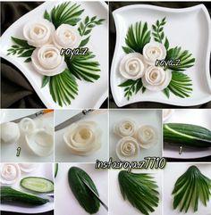 Vegetable Decoration, Vegetable Design, Food Decoration, Food Crafts, Diy Food, Fruit Creations, Creative Food Art, Vegetable Carving, Garnishing