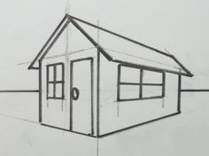 Learn how to draw a 3D house, and about the elements that help create the illusion of depth, like the horizon line and vanishing point in two-point perspective.