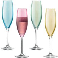LSA Polka Pastel Set Of 4 Champagne Glasses found on Polyvore