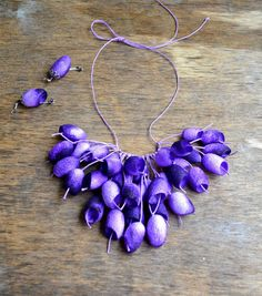 necklace silk cocoon and earrings. lilac necklace от batikelena
