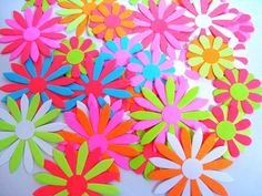 Bright Paper flowers, colorful flowers, Scrapbooking, Embellishments, Bright colors, two layered, neon flowers, set of 20