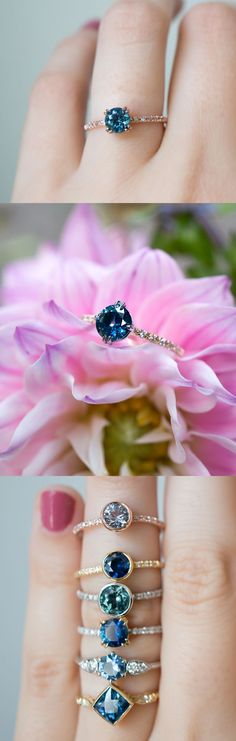 Unique vintage inspired Sapphire engagement rings by S. Kind & Co. Handcrafted in New York with ethically sourced Sapphires from Montana, USA.