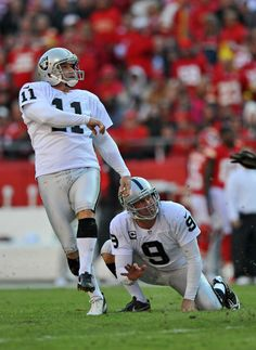Place kicker Sebastian Janikowski #11 of the Oakland Raiders kicks a 32-yard field goal against the Kansas City Chiefs during the second quarter on October 28, 2012 at Arrowhead Stadium in Kansas City, Missouri.