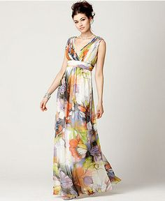 S Boutique Dress, Sleeveless Beaded Ruched Empire Waist Floral Print Evening Gown