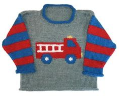Ravelry: Fire Truck Roll Neck pattern by Gail Pfeifle, Roo Designs Baby Boy Knitting Patterns, Baby Sweater Knitting Pattern, Knitting Charts, Knitting For Kids, Knitting Designs, Baby Patterns, Knit Patterns, Hand Knitting, Baby Boy Sweater