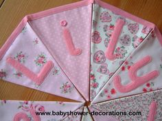 Personalised banner, name bunting. Baby girl. Christening. Custom. Fabric flags. Pink florals, rosebuds. Applique hearts, butterflies. . - http://www.babyshower-decorations.com/personalised-banner-name-bunting-baby-girl-christening-custom-fabric-flags-pink-florals-rosebuds-applique-hearts-butterflies.html