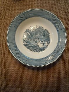 """Currier and Ives """"Early Winter"""" soup bowl"""