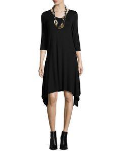3/4-Sleeve Jersey Dress W/ Arched Hem