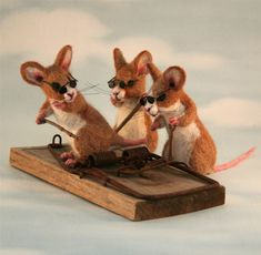 Three blind mice,  Needle felted.