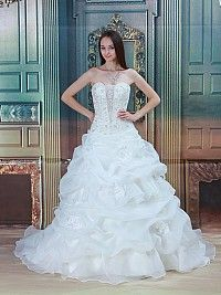Strapless Ball Gown with Beaded Bodice and Flower Detailed Skirt