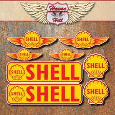 Vintage Signs, Vintage Ads, Shell Gas Station, Royal Dutch Shell, Standard Oil, Old Logo, Garage Signs, Badge Logo, Old Signs