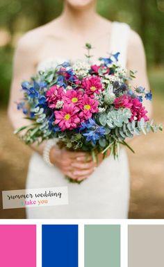 Cobalt blue + grey + grayed jade and pink summer wedding colours | itakeyou.co.uk